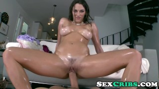 Lily Love titty fucks a huge cock and creampied