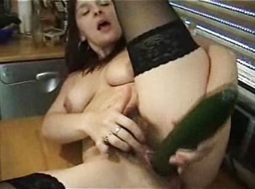 German Hairy Bitch Play With A Cucumber