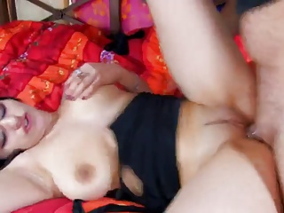 Brunette fucked very hard  by one guy and one blond girl