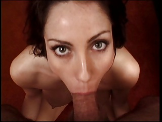 Brunette sucks cock on the floor and has her tits jizzed on