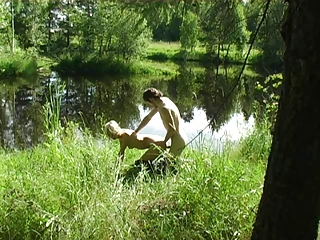 Cute teen fucking in a forest