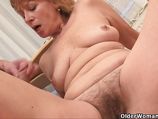 her on tits Granny cum with