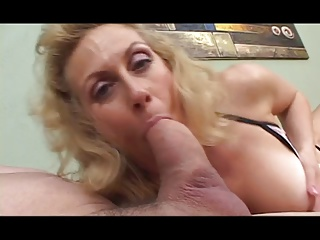Horny blonde takes cock deep