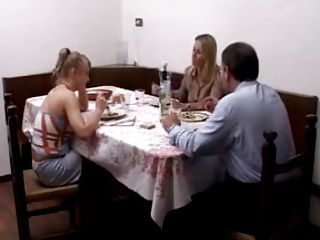 Step father fucking a teen her mother is watching. anal
