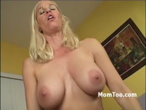 Busty blonde mom and slutty daughter take turns riding stiff
