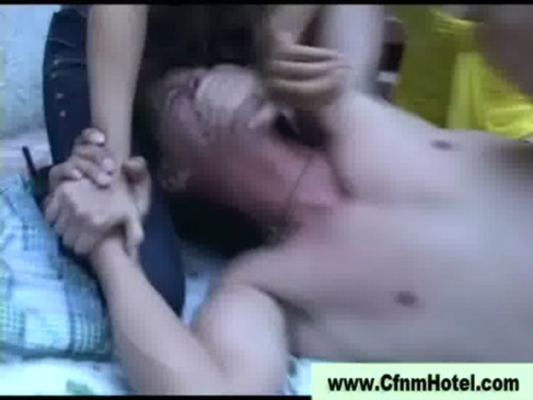 Cfnm femdom bitches inflict strapon ass fuck