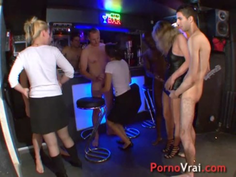 Orgy in the basement of a house! French a ...