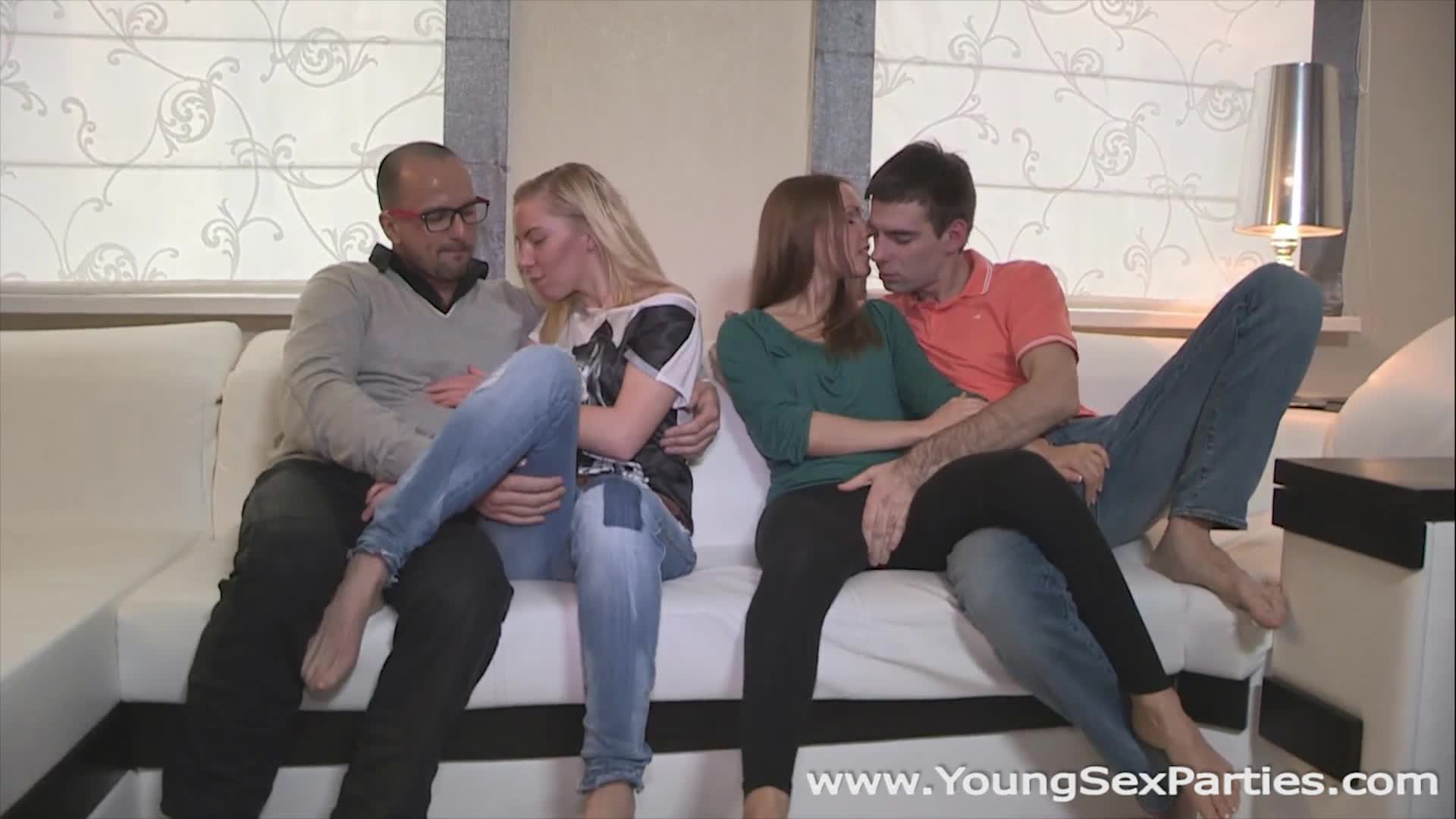 Young Sex Parties Angie Koks Sabrina Moore Sharing the fruit of group sex