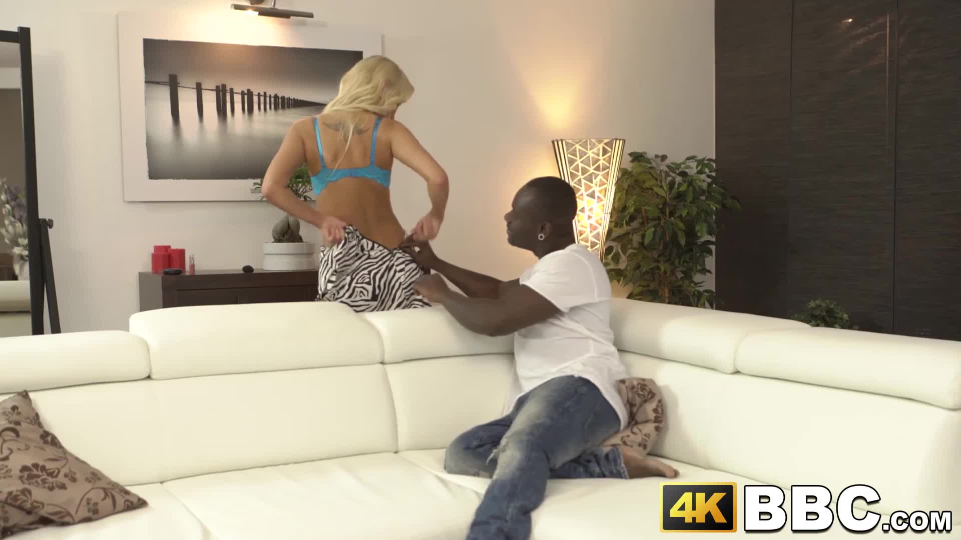 Big black dick drills a young white pussy balls deep