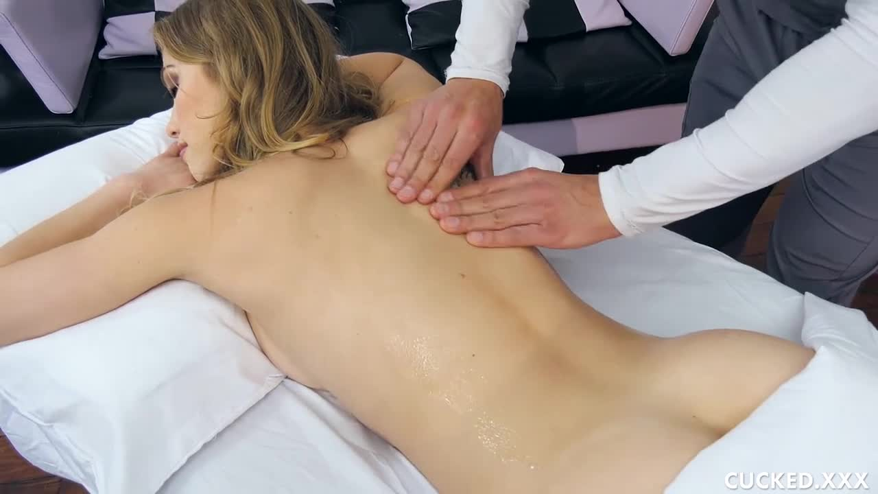 Cucked Husband Watches Hot Blonde Wife Fuck The Fat Cock Of the Masseuse