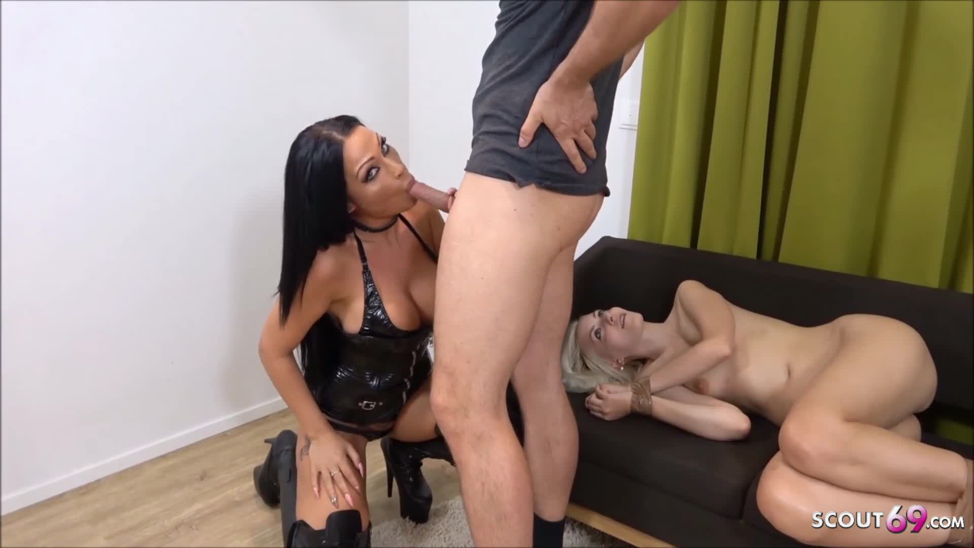 Slave Girl made to Anal Bitch at Threesome by German Domina
