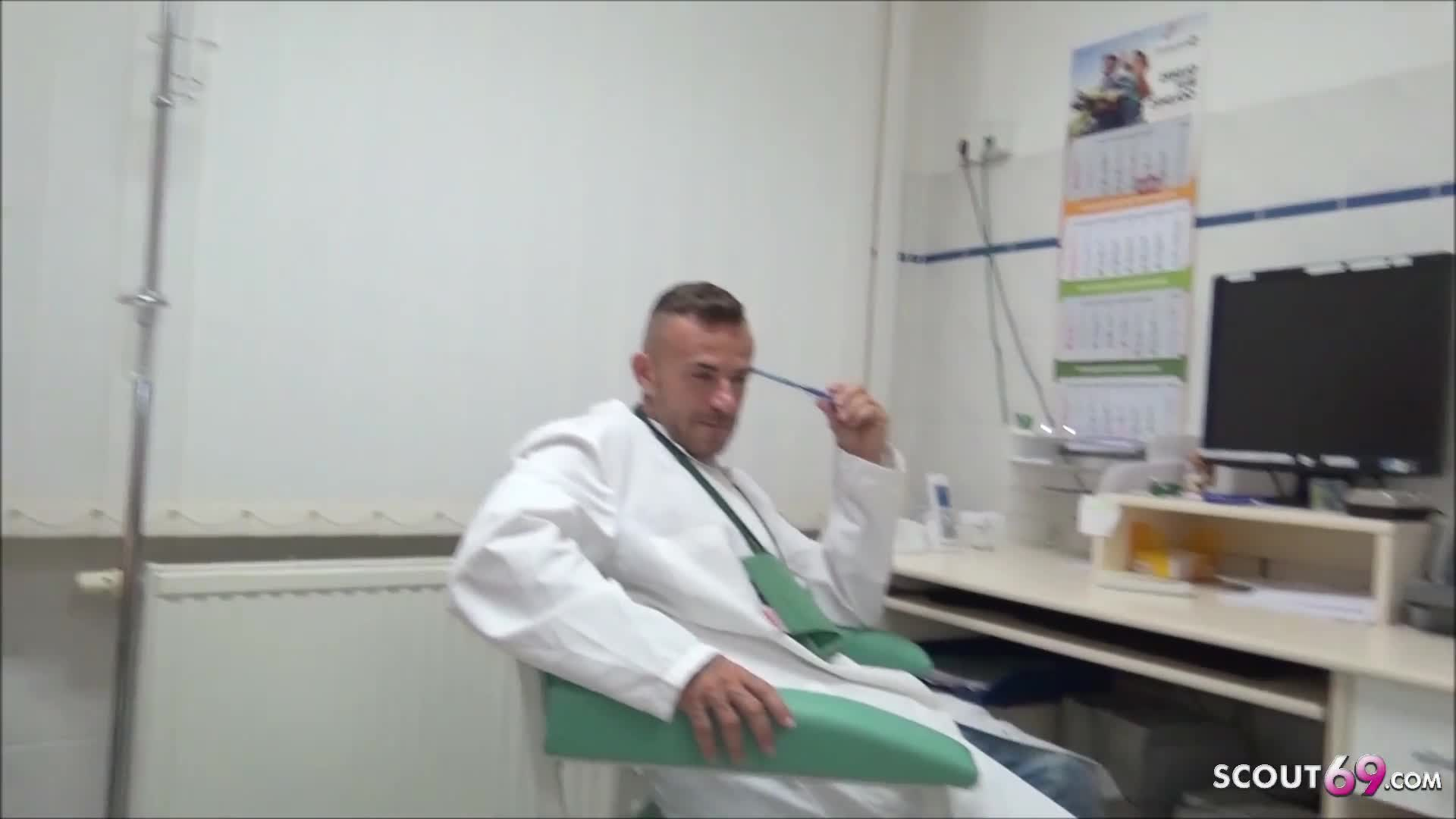 German Teen Nurse Seduce to MMF Fuck at Work in Hospital