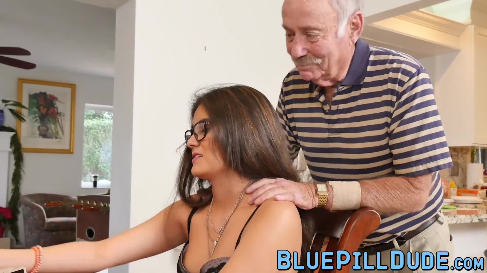 Alluring young babe with nice curves banged by grandpa