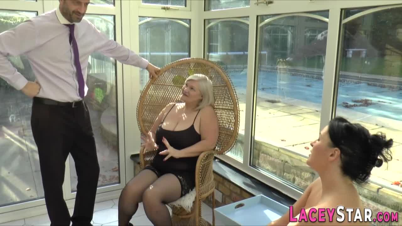 Brit granny rides face and cock