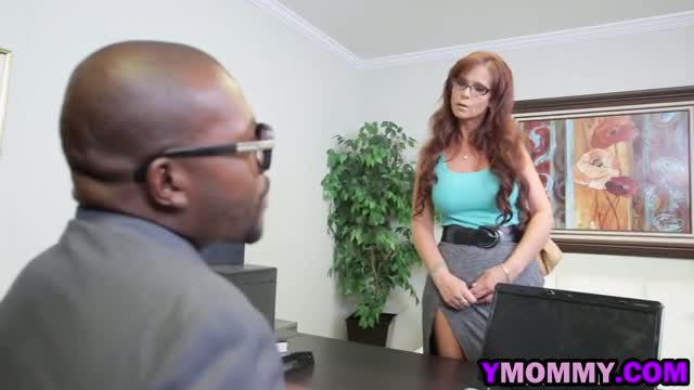 Angry redhead MILF fucked by two black dicks