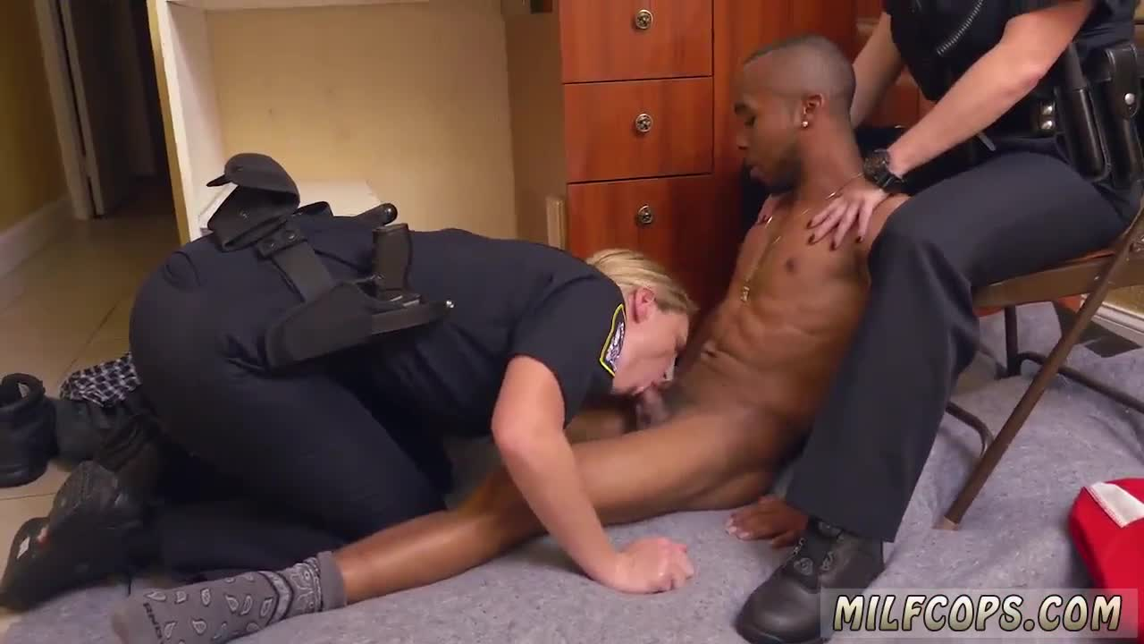 Strap on cop black male squatting in home