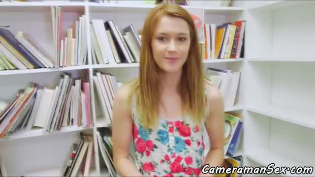 Redhead babe pov fucked in the library