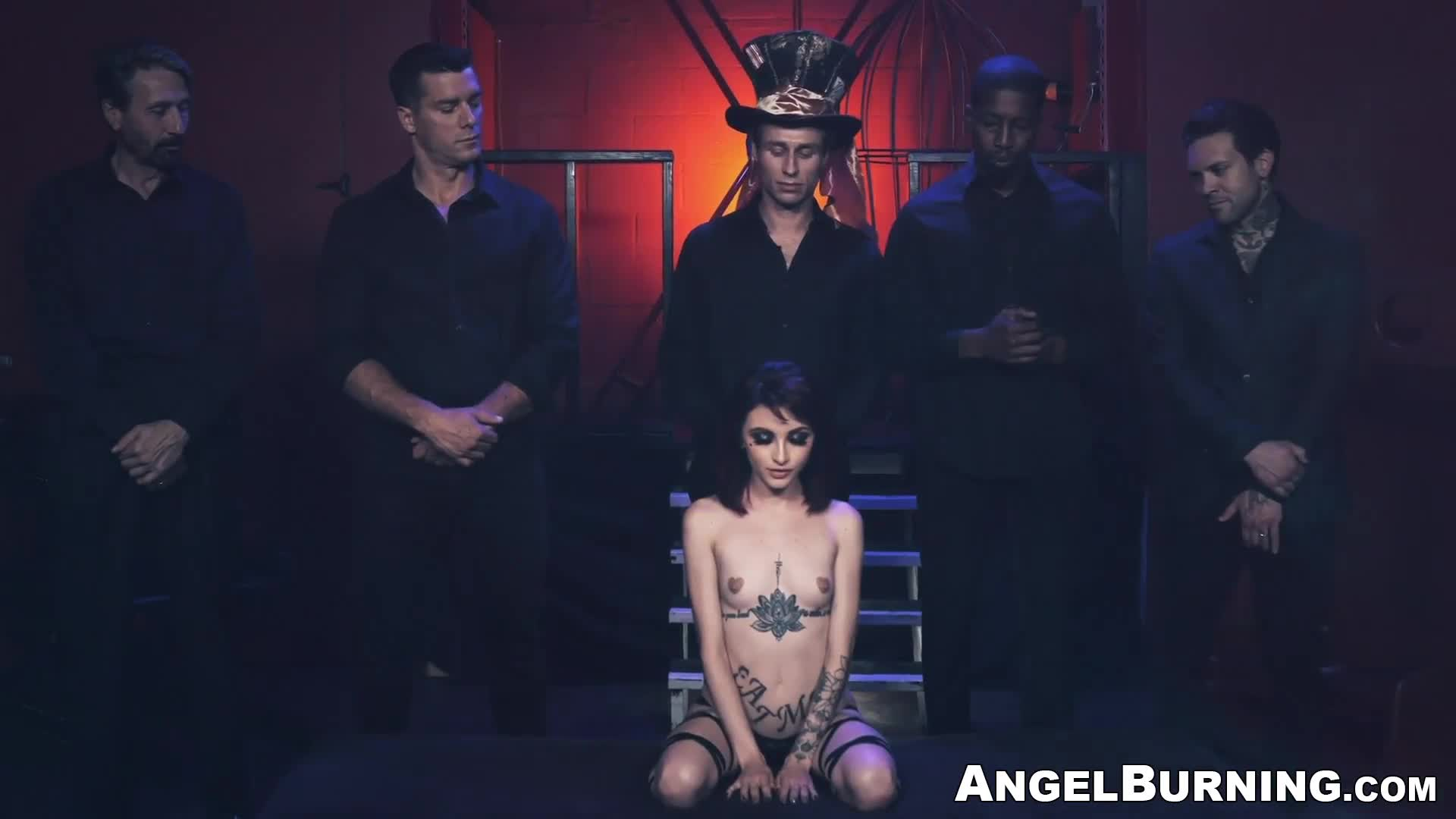 Tiny goth babe gets all of her holes filled with giant cocks