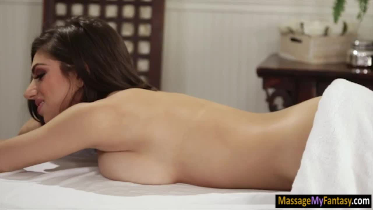 Masseuse lesbian sex with busty client on massage table