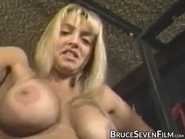 Busty lesbian submissive tied up and spanked by femdom