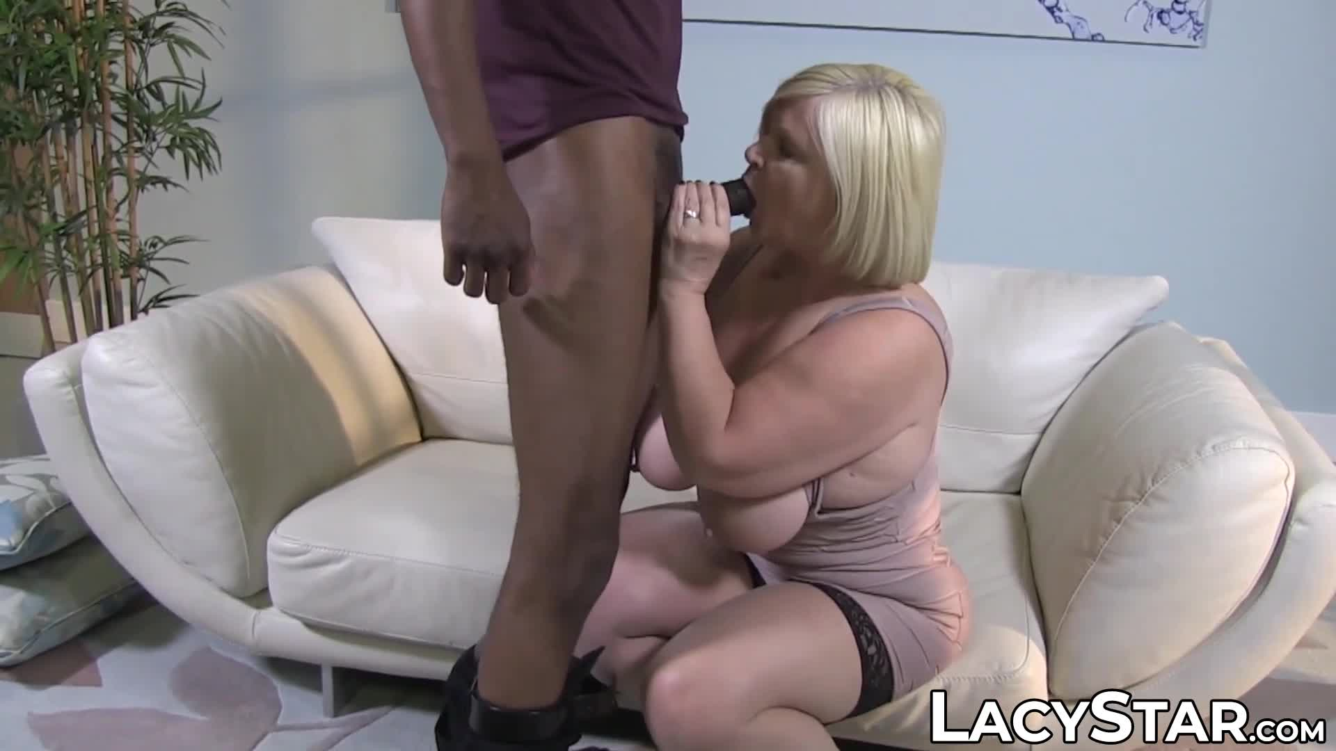 Busty GILF Lacey Starr dominated with BBC and cum in mouth