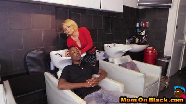 Busty blonde mom cums while having two black dicks in her pussy and asshole