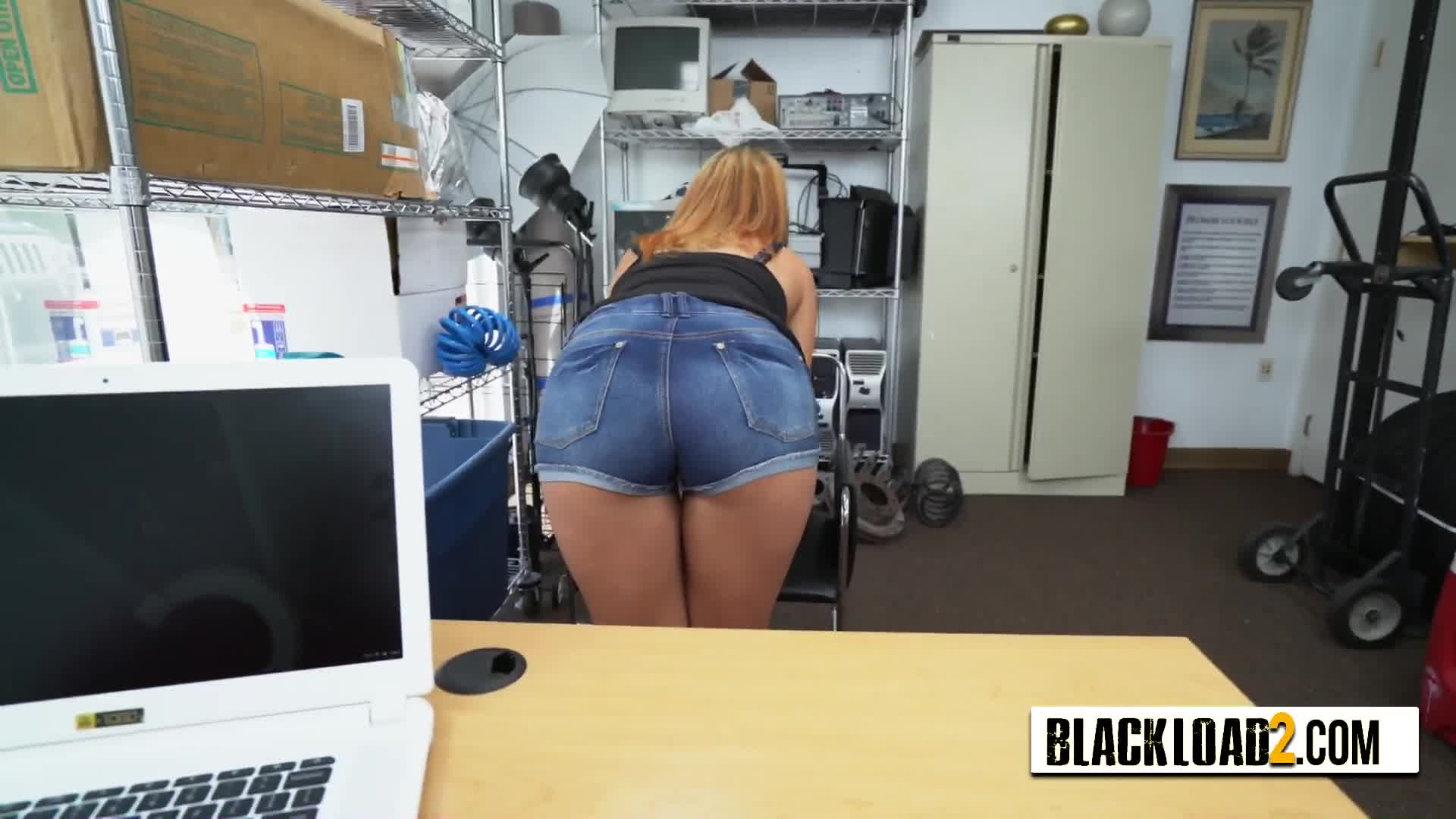 Blue eyed chick in need of fast cash is seduced into taking directors big black cock