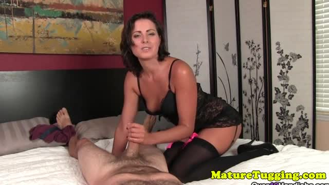 Massive boobs milf giving handjob pov