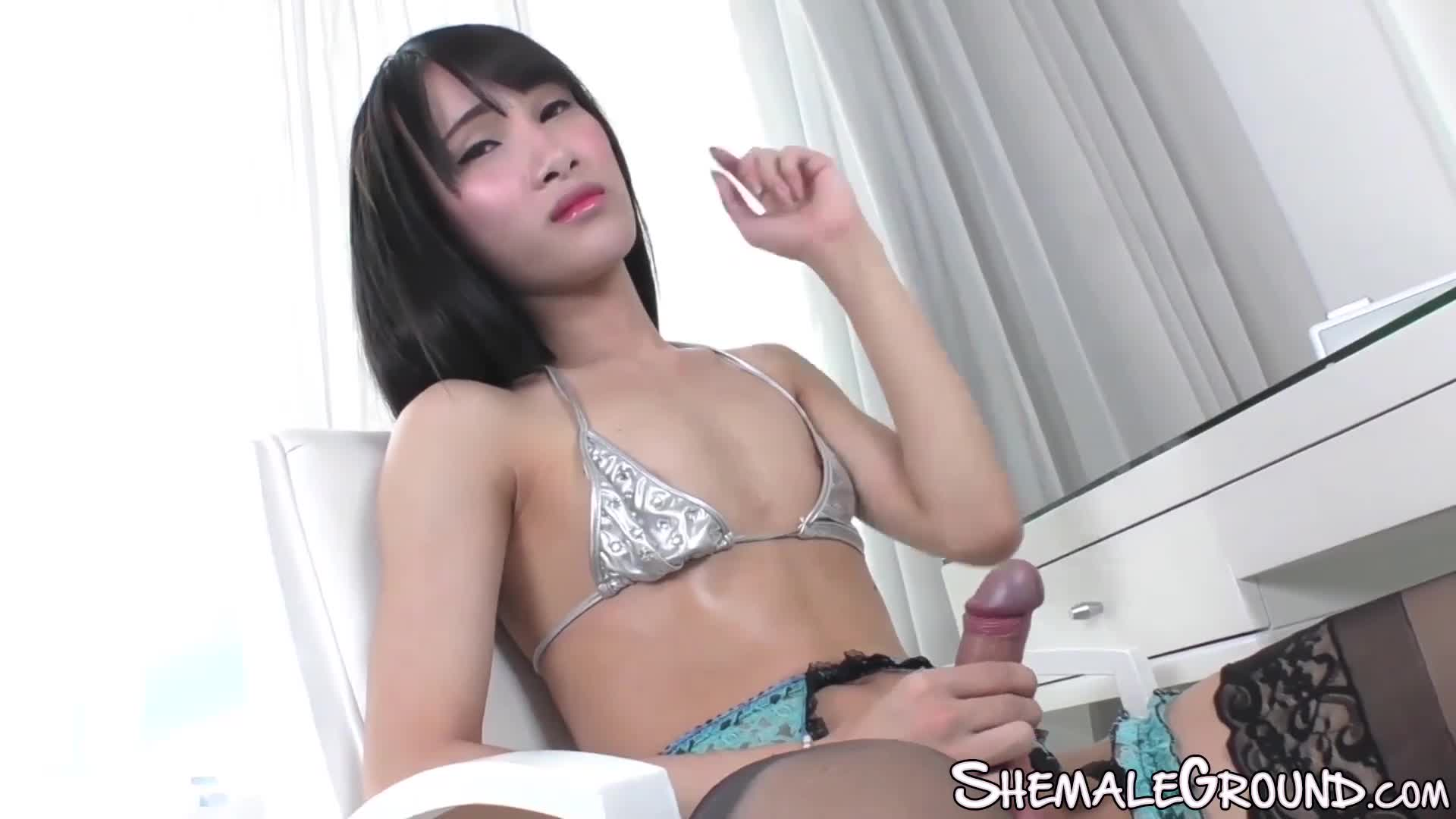 Asian shemale with small tits and big dick impales her lover