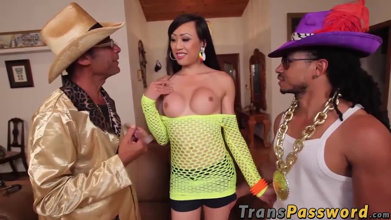 Sensational Asian TS shared by two horse hung studs