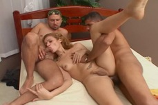 Sexy Latina shemale and her two hung lovers all take turns fucking