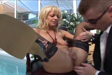 Dude gets sucked by blonde MILF before he drills her anus with his hard rod
