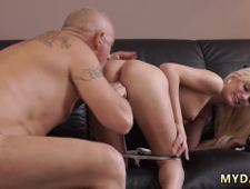 Old granny doggy style Horny platinum blonde wants to attempt someone