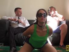 Blindfolded sub Liz Rainbow choked and destroyed by Pascal