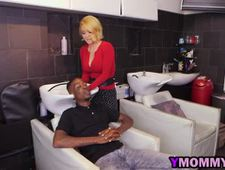 Hair stylist gets all her holes filled by black cocks