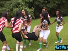 Naughty young trannies strip and fuck referee after soccer practice