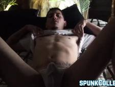 Handsome hairy jock plays with hairy rock solid cock solo