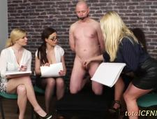 Slave Pleasured by 4 Hot Skanks