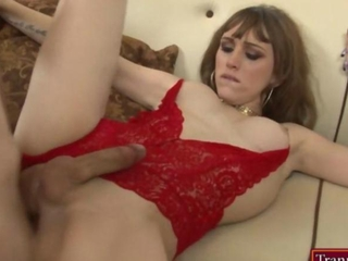 Gorgeous shemale Kylie Maria anal banged by nasty man