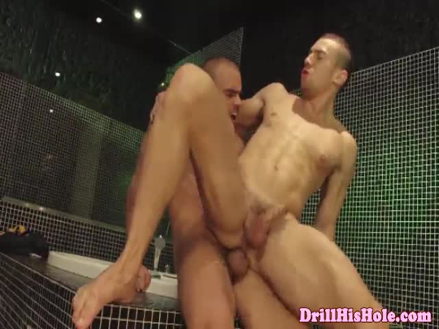 Selfish gay stud being dick spoiled with blowjob