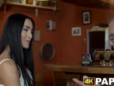 Teen beauty fucked by senior at the coffee shop