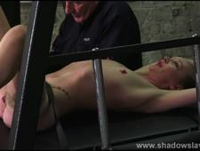 Merciless whipping of struggling amateur slave in rough spanking and beaten