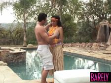 Curly haired beauty Serena Ali plowed after poolside party