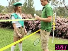 Slender minx Sadie Blair fed cum after badminton game