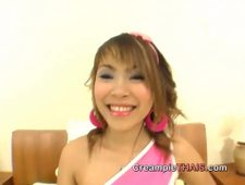 Little Thai teen cheerleader gives amazing blowjob gets creampied