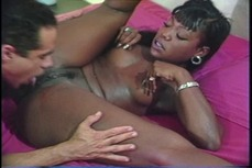 Black slut with nice boobs in bedroom hardcore fucking a white cock