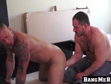 Inked butt muncher bends over for barebacking doggy styling