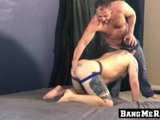 Homo got blindfolded and ass smashed by his hairy boyfriend