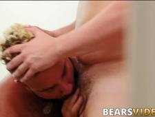 Hairy bear with big belly bounces on thick prick like a pro