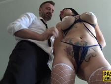 Bound busty submissive